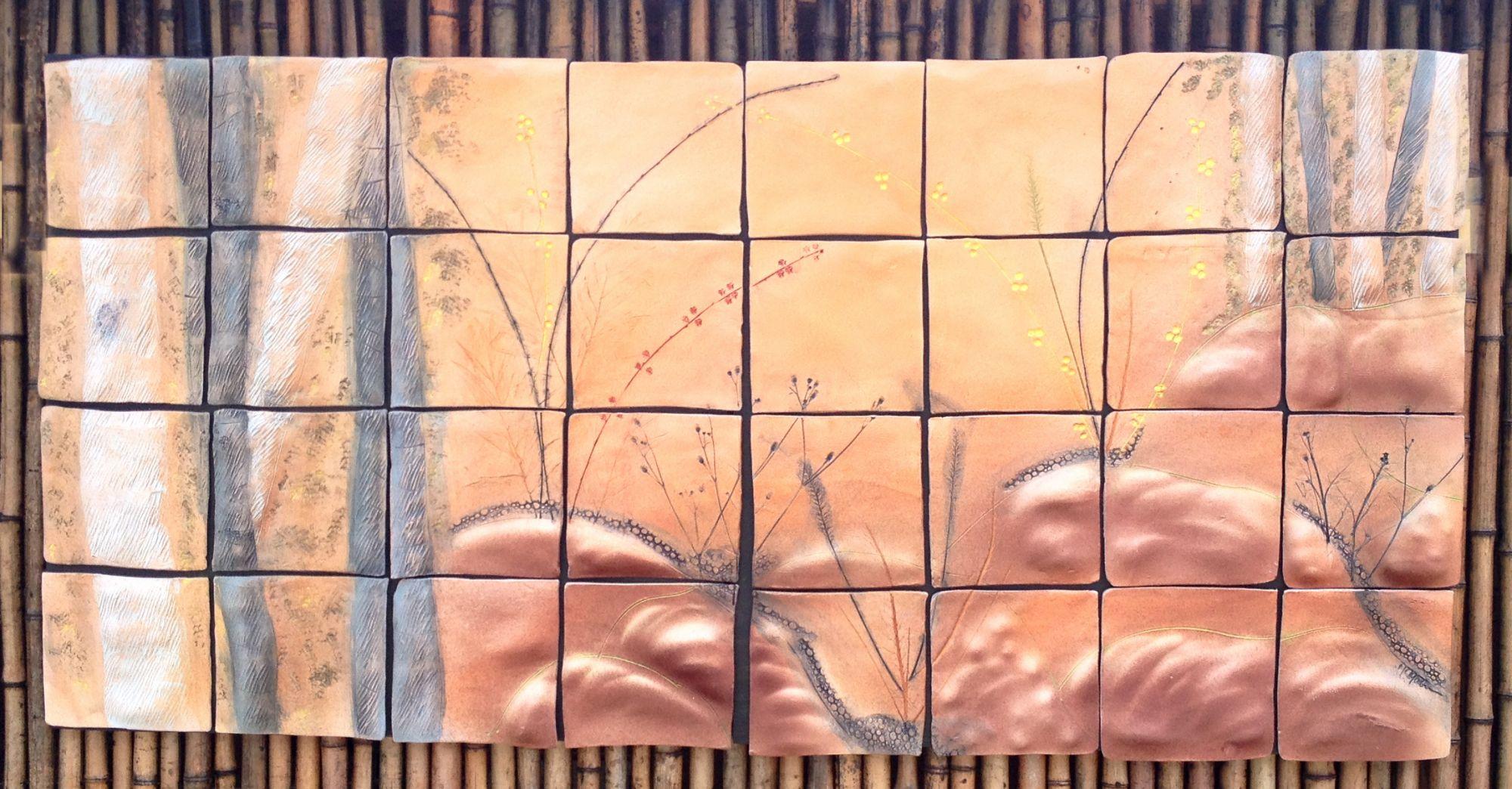 Quaking Aspen Ceramic Tile Wall Art Original Ceramic Art Piece By