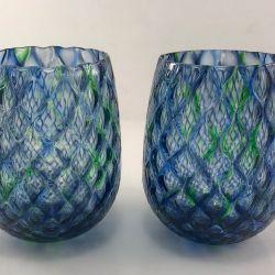 Blue-Green Glass Tumblers