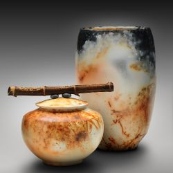 Saggar fired bowl & lidded jar MORE INFO