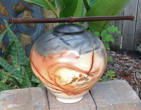 Black Bamboo Saggar Fired Gaea Urn
