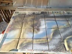 Glazes are applied to all handmade tiles